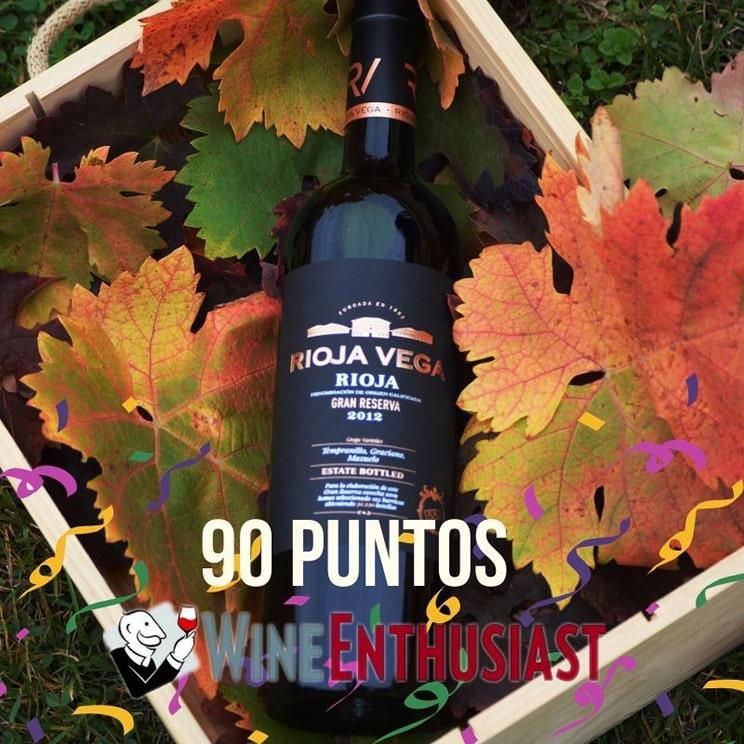 Rioja Vega Gran Reserva 2012 recibe 90 puntos de la prestigiosa revista Wine Enthusiast